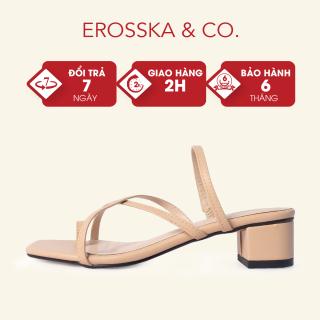 Dép cao gót thời trang Erosska xỏ ngón phối dây phong cách Hàn Quốc cao 3cm màu nude - EM066 thumbnail