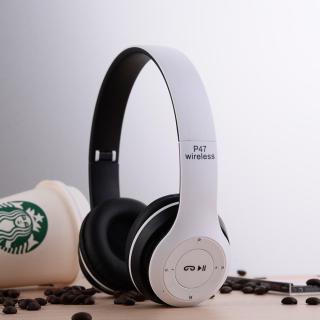 PHỤKIỆNTP Tai nghe chụp tai cao cấp có khe thẻ nhớ Bluetooth P47 (Trắng) thumbnail
