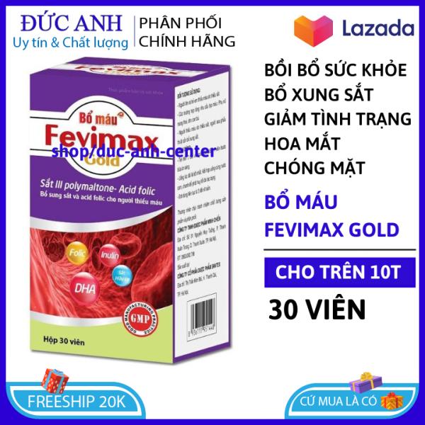 Viên uống Bổ máu Fevimax Gold bổ sung Sắt, Acid Folic cho người thiếu máu não, phụ nữ mang thai và cho con bú Chai 30v nhập khẩu