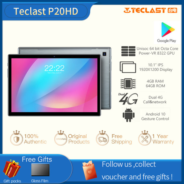 【Factory Delivery】Teclast P20HD 10.1 Inch 4GB RAM 64GB ROM Tablet Android 10.0 OS 4G Phone Call FHD Screen 1920×1200 Bluetooth 5.0 SC9863A Octa Core 6000mAh Battery Tablets PC Dual Wifi
