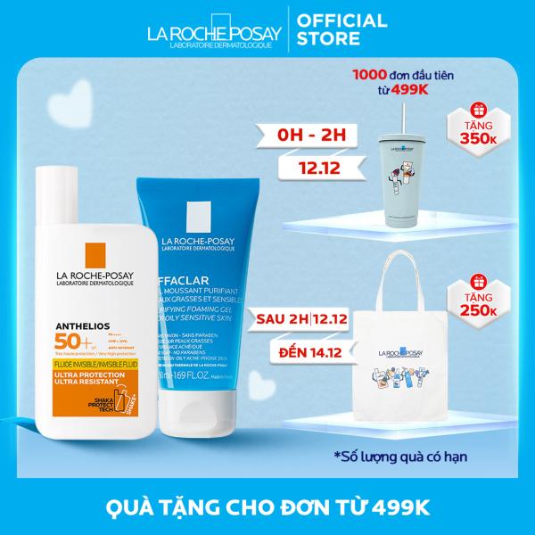 Bộ Kem chống nắng không nhờn rít La Roche-Posay Anthelios Shaka Fluid 50ml và Gel rửa mặt 50ml nhập khẩu