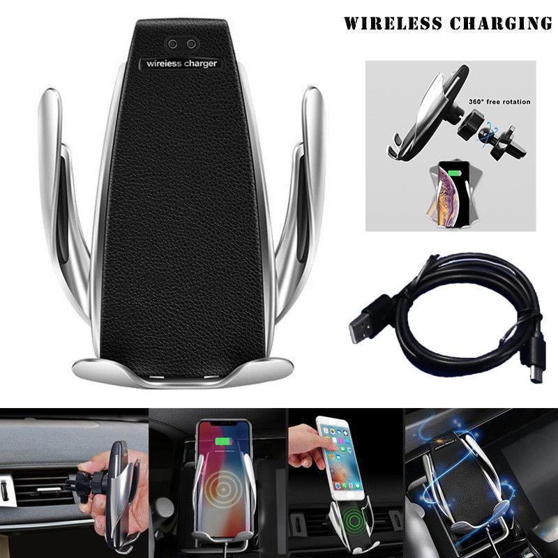 Đế sạc không dây S5 trên oto, xe hơi nổi tiếng (Chuẩn QI) Sạc nhanh (Ngàm Kẹp) + Siêu tiện lợi vừa làm giá đỡ điện thoại vừa có sạc không dây + Bảo hành 1 đổi 1
