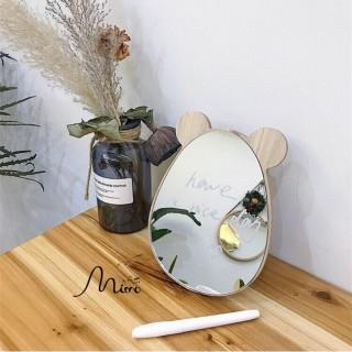 Gương soi để bàn gương để bàn gỗ họa tiết chuột thỏ xinh và chắc chắn thumbnail