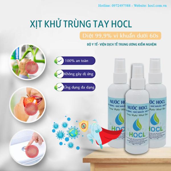 Nước khử trùng HOCL sát khuẩn tay, bề mặt tiếp xúc 100ml giá rẻ