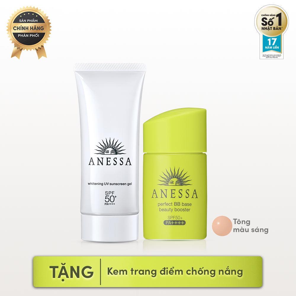 Bộ kem trang điểm và gel chống nắng Anessa (Perfect BB Base Beauty Booster Light - SPF 50+, PA++++ - 25ml + Whitening UV Sunscreen Gel - SPF50+, PA++++ - 90g)