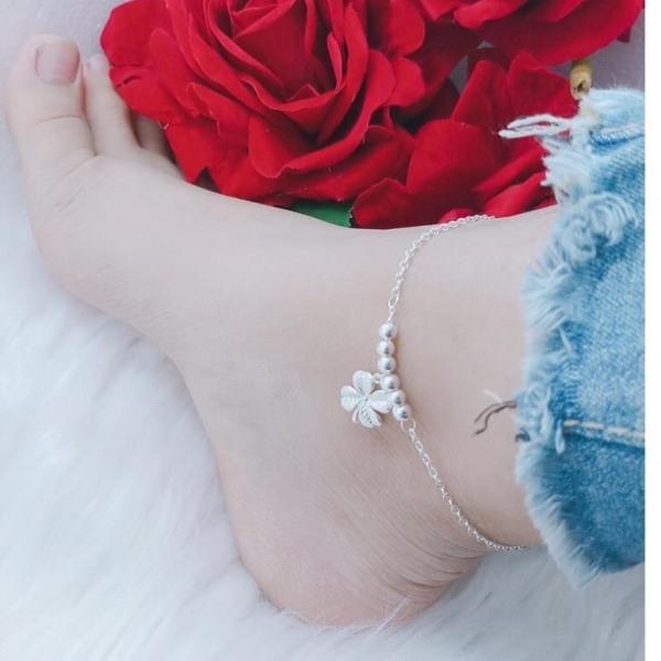 Lắc chân nữ bạc ta - cỏ 4 lá [ Có cả lắc tay], chất liệu chuẩn bạc ta cao cấp, các họa tiết sắc sảo- JQN gian hàng chính hãng cam kết bạc chuẩn, chất lượng không lo đen xỉn