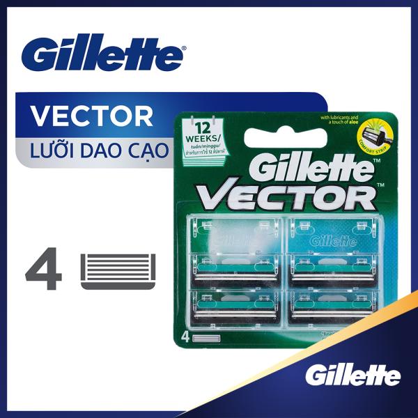 [Tặng Gel Cạo Râu 195g đơn từ 149k] Lưỡi dao cạo râu Gillette Vector ( 4 lưỡi/vỉ ) [Tặng voucher GOTIT 100K khi review]