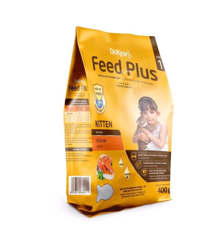 THỨC ĂN HẠT CHO MÈO CON VỊ CÁ HỒI FEED PLUS 400G - DR.KYAN