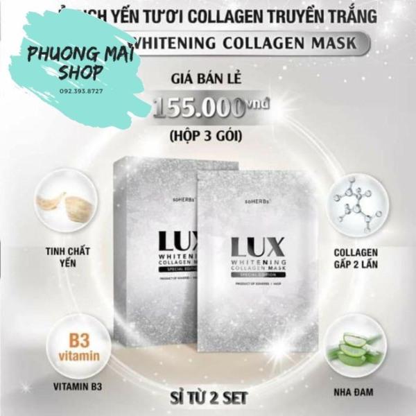 Hàng chính hãng Date 2023 (1 hộp 3 gói Ủ trắng Lux tinh chất yến tươi collagen truyền trắng Lux soHerbs) giá rẻ