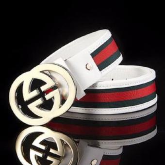 Dây nịt da,Thắt lưng nam 2 chữ G dây trắng phối sọc đỏ phong cách hàn quốc
