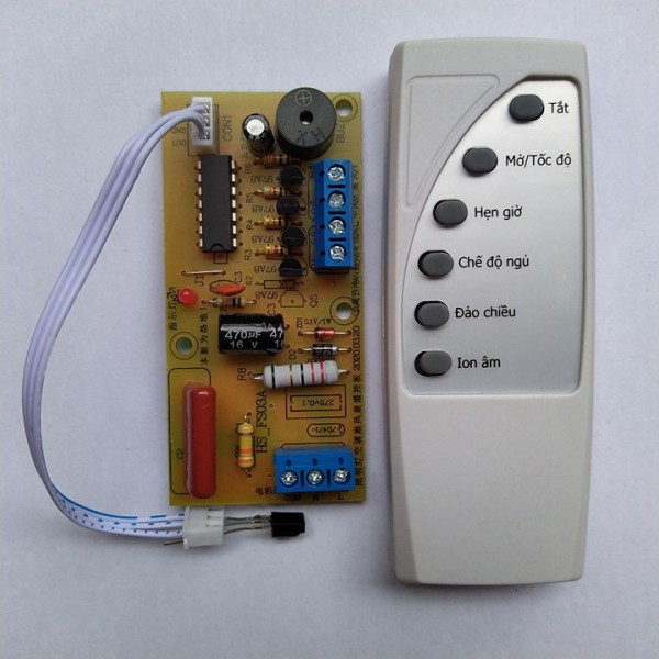 Mạch quạt điều khiển từ xa + điều khiển 6 NÚT biến quạt thường thành quạt điều khiển từ xa LOẠI TỐT TIẾNG VIỆT