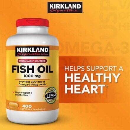 Viên dầu cá Kirkland Fish Oil 1000mg 400 viên nhập khẩu