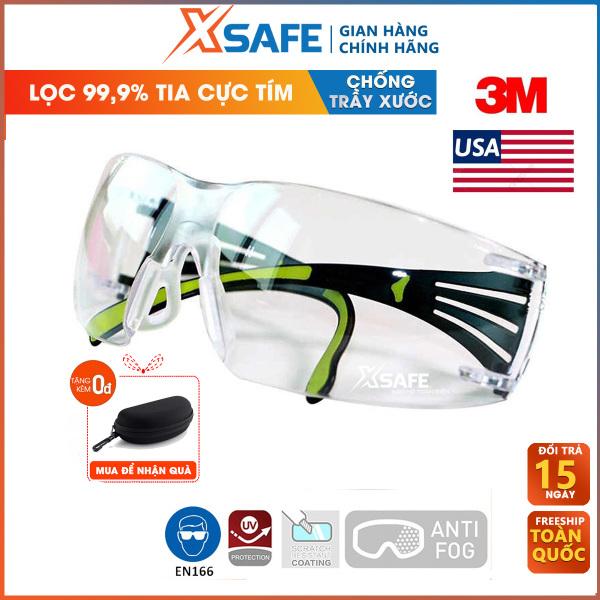 Kính bảo hộ 3M SF401AF - kính chống tia UV, chống bụi, chắn gió, chống xước, đọng sương. Mắt kính trong suốt, bảo vệ mắt trong y tế, lao động, đi xe máy, kính chống phòng dịch (màu trắng)  - Sản phẩm chính hãng XSAFE