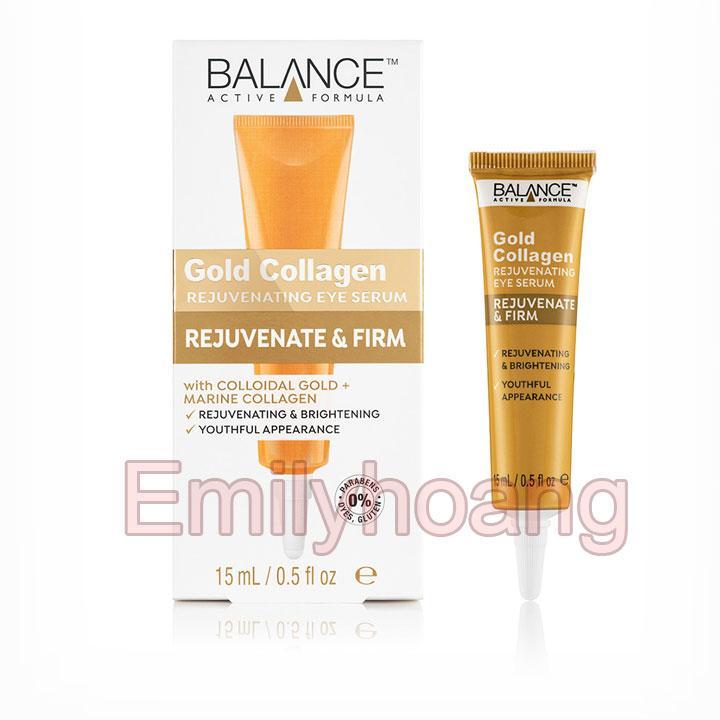 Kem Vàng Trị Thâm Quầng Mắt, Bọng Mắt Balance Active Formula Gold Collagen Eye Serum 15ml nhập khẩu