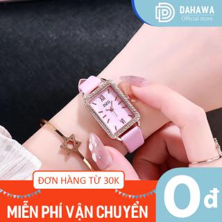 Đồng hồ thời trang nữ DZG 161, dây da mềm chắc chắn, mặt hình chữ nhật viền đính đá cực xinh, bảo hành 6 tháng thumbnail