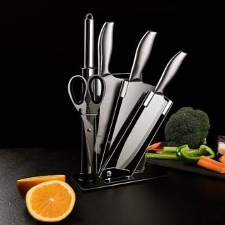 Bộ dao Nhật Bản Seki 5 món làm từ thép không gỉ ( có kệ để dao) , dao chặt xương, dao thái, kéo, dụng cụ mài dao thumbnail