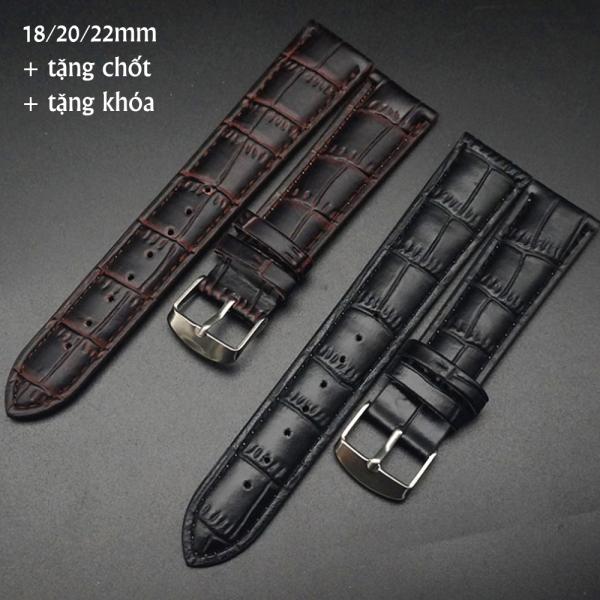 Nơi bán Dây da đồng hồ dập vân cá sấu các kích thước dành cho đồng hồ đeo tay, đồng hồ thời trang tặng kèm khóa đồng hồ + kèm chốt 2 đầu