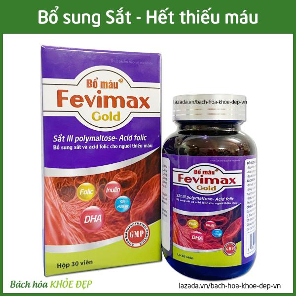Viên uống Bổ máu Fevimax Gold bổ sung Sắt, Acid Folic cho người thiếu máu não, phụ nữ mang thai và cho con bú - Chai 30 viên dùng 30 ngày