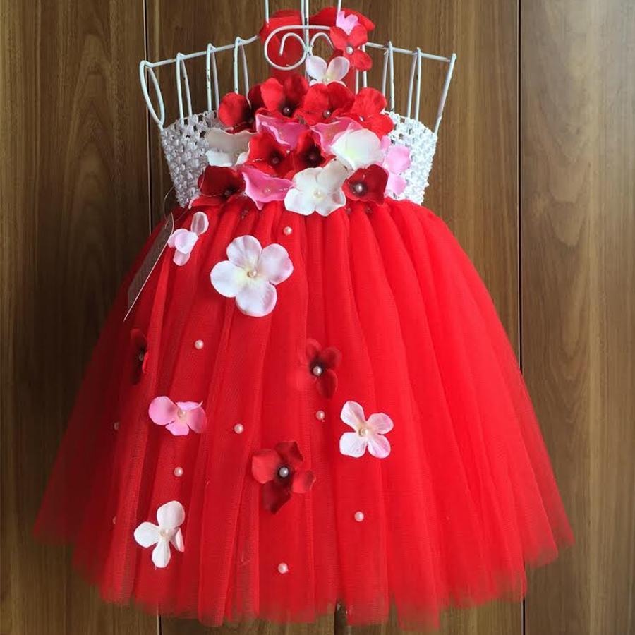 Giá bán Váy yếm đỏ tú cầu trắng hồng