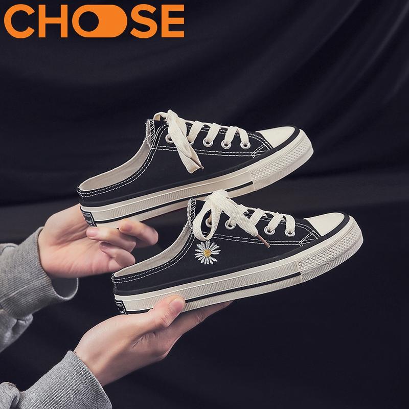 [HCM]Giày Sục Nữ HOA CÚC HOT TREND Slip On Kiểu Mẫu Classic Giày Vải Nữ Giày Nữ 0203