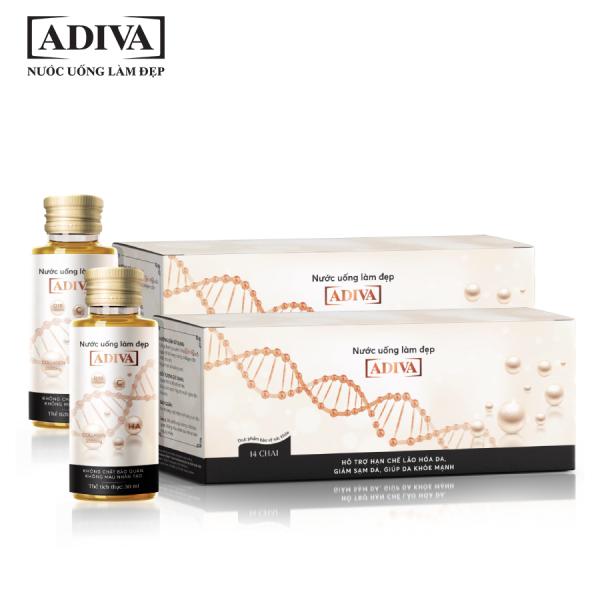 COMBO 02 Hộp Nước uống làm đẹp Collagen Adiva (14 lọ/hộp) - Hỗ trợ ngăn ngừa nếp nhăn trên da cao cấp