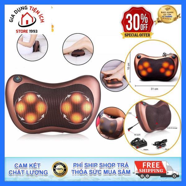 Gối massage cổ, máy massage hồng ngoại 8 bi thiết kế gọn nhẹ, dễ sử dụng - Tặng cáp cho Ôto - Bảo hành 1 đổi 1