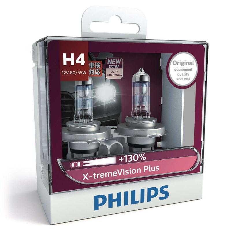 Đèn Pha Philips X-treme Vision Plus chân H1 - H4 - H7,  3700K, Tăng Sáng 130%  Bộ 2 bóng