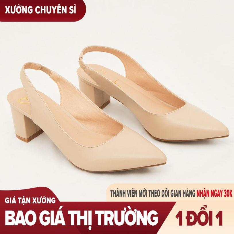 Giày nữ, giày cao gót slingback hở gót, bít mũi thời trang nữ kiểu dáng basic _ EH015 (WH) giá rẻ