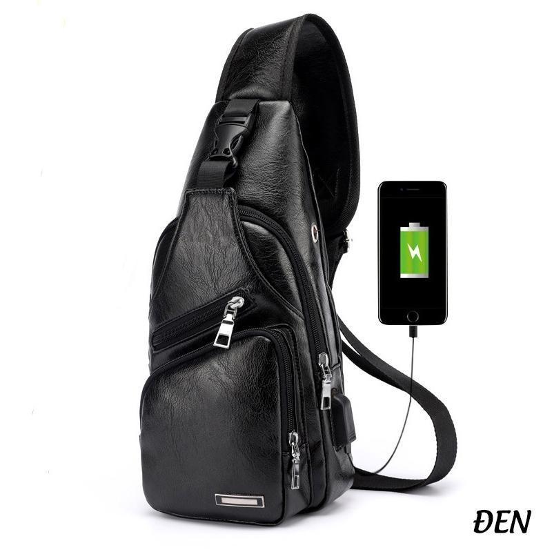 Túi đeo chéo nam da cao cấp, có lỗ nhét tai nghe , thiết kế nhiêu ngăn tiện dụng , tặng kèm cổng USB nối cáp sạc tiện lợi TNDA