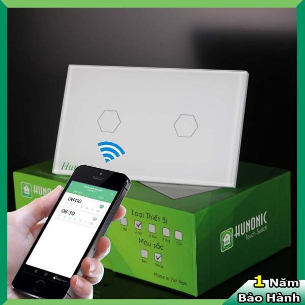Công tắc cảm ứng [ĐIỀU KHIỂN TỪ XA] bằng điện thoại HUNONIC + 2 Nút màu trắng (Công nghệ 4.0)