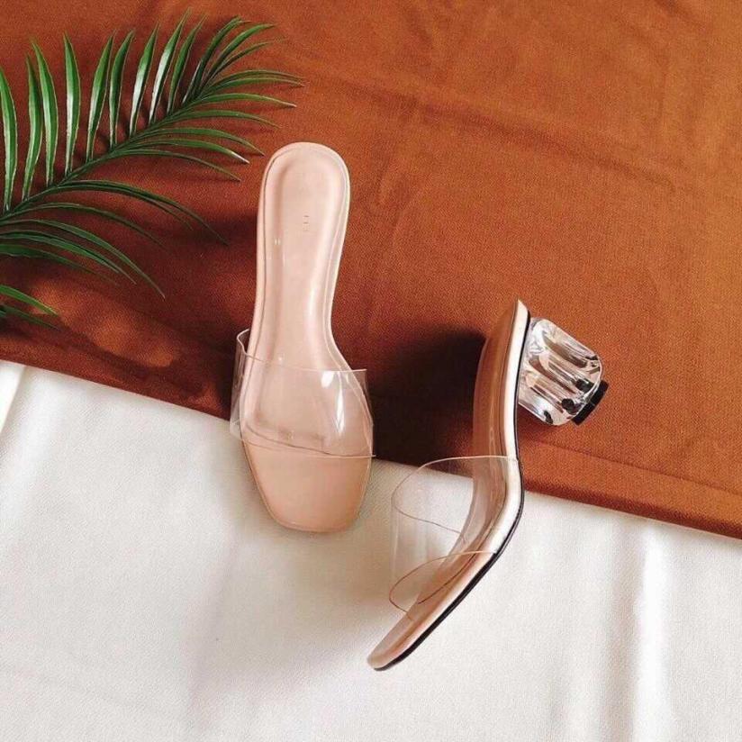 Guốc sandall cao gót quai trong siêu hot 5cm MÀU KEM - mã 409 giá rẻ