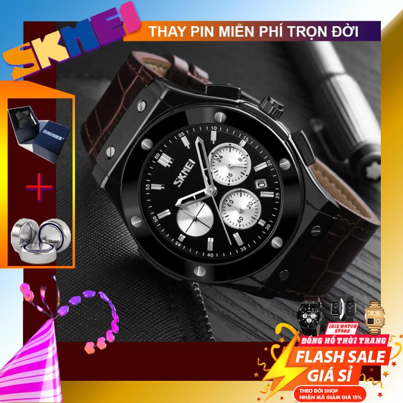 Đồng hồ nam dây da SKMEI 9157 new 2020 đồng hồ nam kiểu HUBLOT SANG TRỌNG(TẶNG HỘP VÀ PIN)