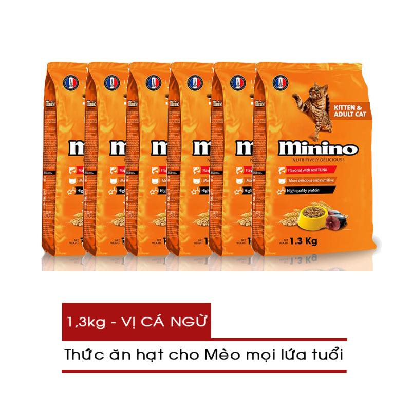 [COMBO 6 GÓI] Thức ăn hạt cho Mèo mọi lứa tuổi Minino gói 1.3kg - Vị Cá Ngừ - [Nông Trại Thú Cưng]