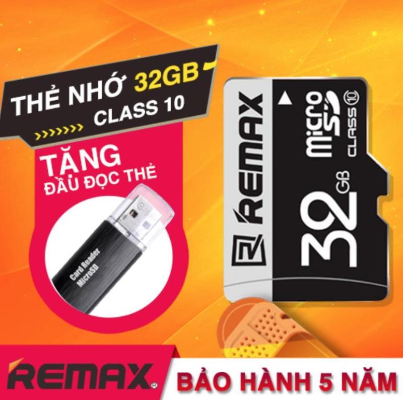 [ Tặng đầu đọc thẻ ] Thẻ nhớ 32GB Micro SDHC class10 thương hiệu Remax cho điện thoại và Camera ( Màu Đen ) Tặng kèm đầu đọc thẻ nhớ