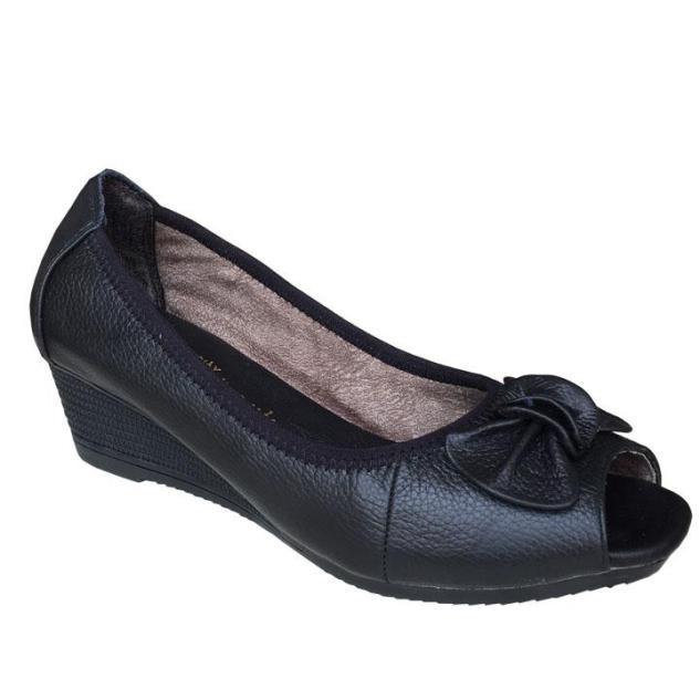 Giày nữ hở mũi Trường Hải đế xuồng da bò cao cấp màu đen DX008 giá rẻ