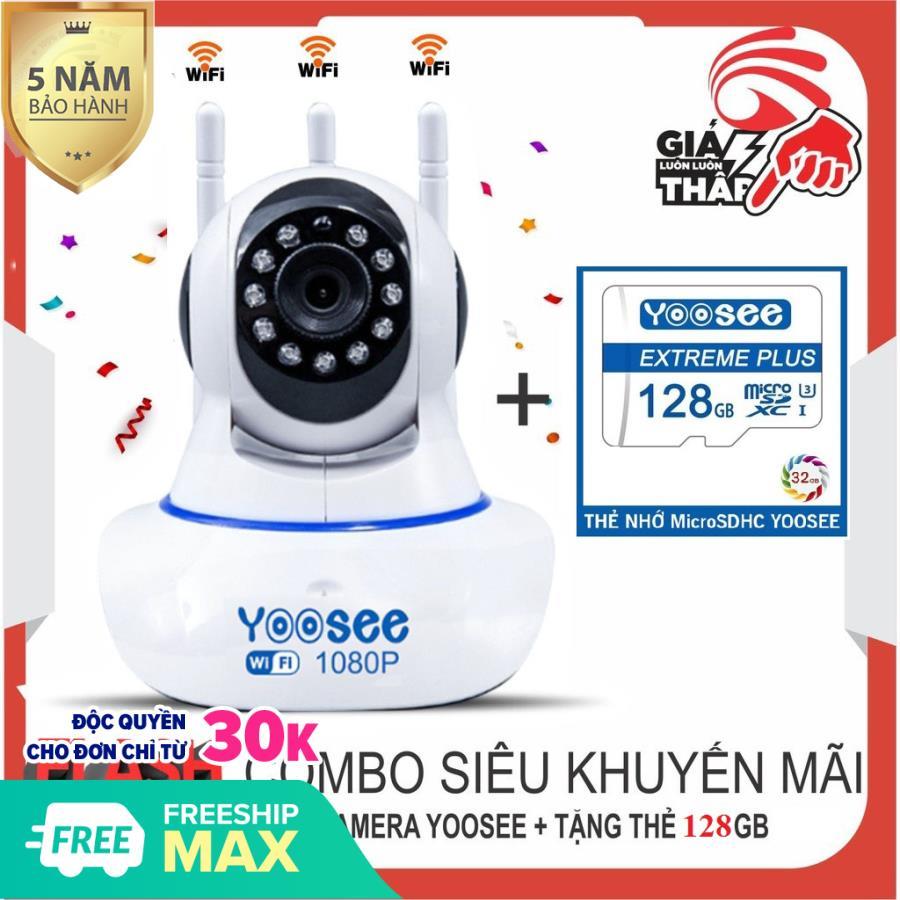 (KÈM thẻ nhớ YOOSEE 128 GB,1đổi 1 trong vòng 30 ngày, bảo hành  5 năm) Camera IP Wifi Yoosee 3 Râu Full HD 1920 X 1080p Không Dây Phiên Bản Mới Nhất 2019,xoay 360 độ, camera trong nhà, ngoài trời
