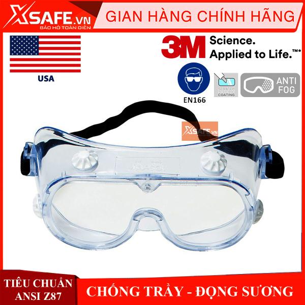 Kính chống hóa chất 3M 334AF Kính bảo hộ chống hóa chất chống bụi chống văng bắn