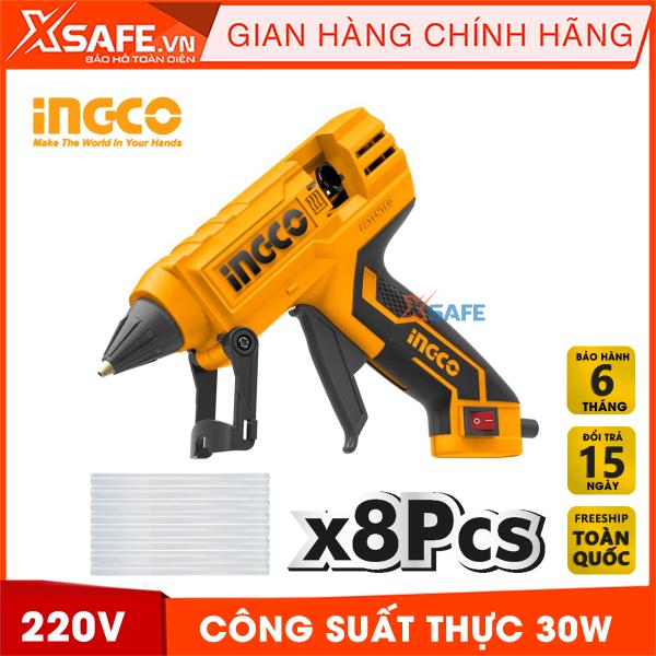 Súng bắn keo nến INGCO GG308 30W(220W) 220V. Máy bắn keo cầm tay mini tặng kèm theo 8 cây keo 11.2mm tạo keo 20-30g/p - Sản phẩm chính hãng XSAFE