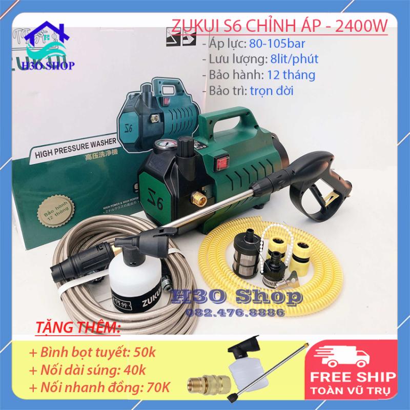 Máy rửa xe gia đình ZUKUI S6 [dây 10m] - 2400W - có chức năng chỉnh áp, máy rửa xe mini, máy xịt rửa cao áp - Tặng bình bọt xà bông và cây nối dài sung