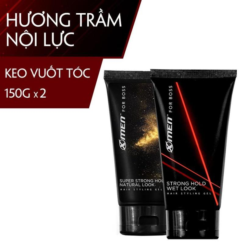 Combo 2 Keo vuốt tóc X-Men For Boss Gel Strong Hold Wet Look 150g + Super Strong Hold Natural Look 150g giá rẻ