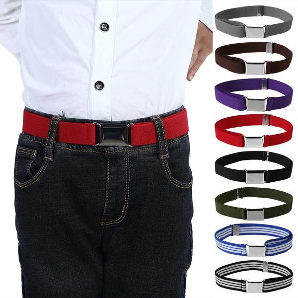 Giá bán N33GVC3Q Fashion Pants Strap Boys Girls High Elastic Waistband Adjustable Kids Canvas Belt Alloy Buckle