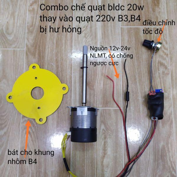 [HCM]Combo chế quạt không than 20w vào quạt 220v hỏng