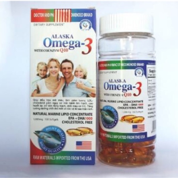 Dầu cá alaska omega 3 with coenzym q10 hộp màu trắng gia đình hộp 100 viên, sản phẩm có nguồn gốc xuất xứ rõ ràng, đảm bảo chất lượng nhập khẩu
