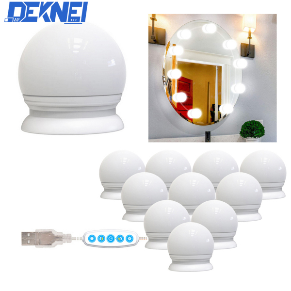 Bộ 10 bóng đèn LED trang trí gương có thể điều chỉnh độ sáng kèm sạc USB DEKNEI-Direct - INTL