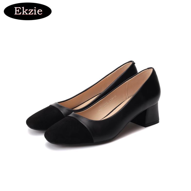 2020 mới vải da nhân tạo mũi nhọn màu tinh khiết đơn giản và nhẹ nhàng cho phụ nữ giày cao gót dày gót đơn giày thoải mái và đa năng màu trắng làm việc chuyên nghiệp giày đeo hàng ngày giá rẻ