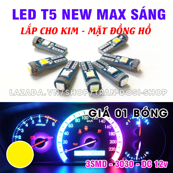 Bóng đèn led T5 3SMD 3030 gắn kim, mặt đồng hồ xe máy, ô tô DC12v