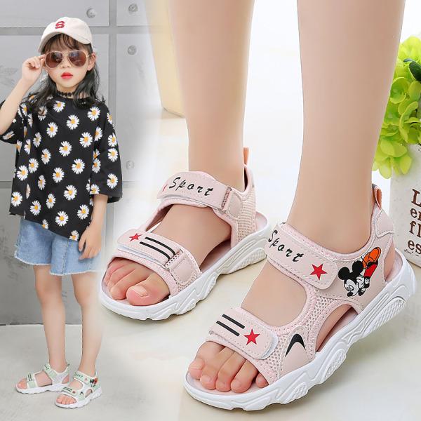 Giá bán ( Bảo hành 12 tháng ) Sandal cho bé gái màu hồng hình chuột mickey có quai dán hàng Quảng Châu cao cấp