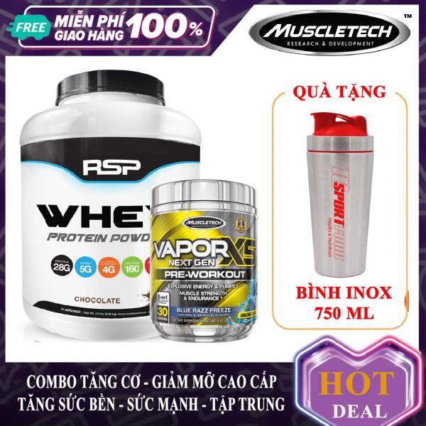 [FREE SHAKER INOX 750ML] Combo tăng cơ giảm mỡ Whey Protein Powder hộp 51 lần dùng hương socola và Vapor X5 hộp 30 lần dùng hương Blue Razz hỗ trợ tăng cơ giảm cân giảm mỡ bụng mạnh mẽ cho người tập Gym và chơi thể thao