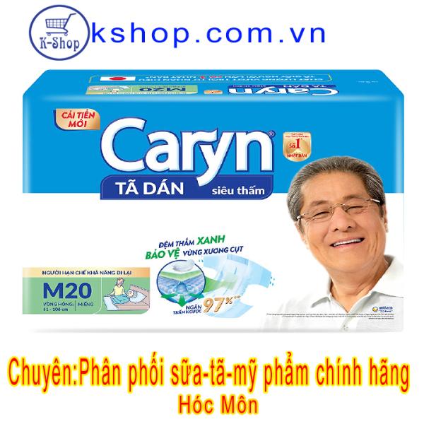 Tã dán Caryn Siêu thấm M20 (61-106CM)-MẪU MỚI BẢO VỆ XƯƠNG CỤT giá rẻ