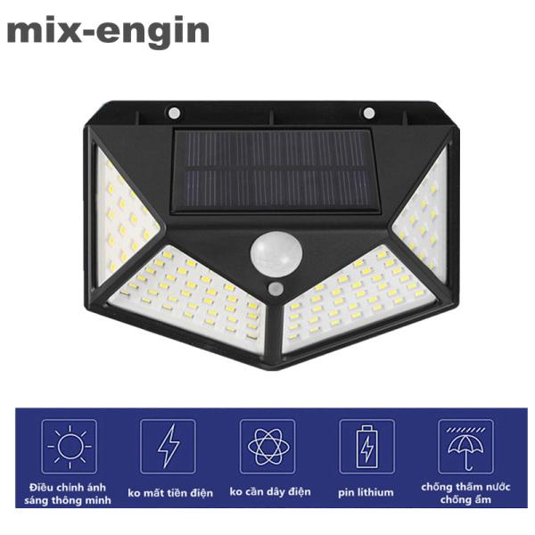 mix-engin Đèn năng lượng mặt trời cảm ứng, cảm ứng chuyển động 4 mặt,Đèn led năng lượng mặt trời,100 led